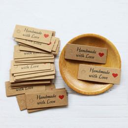 trompeta digital Rebajas 100pcs Kraft etiquetas de papel hecho a mano con Cuerdas con amor etiquetas colgantes Etiquetas de ropa para tarjeta de visualización de embalaje Etiqueta caramelo / regalo / Cookies