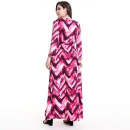 Женские модели длинное платье онлайн-2019 Весенние модели взрывов Платья больших размеров для женщин с длинным рукавом с принтом и V-образным вырезом для женщин