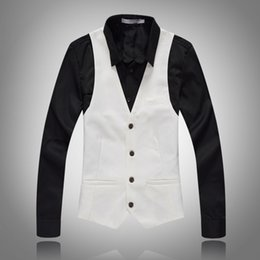 2020 panciotto a bottone alto 2019 New Casual Sleeveless formale giacca di marca Slim Fit Mens Suit Vest button top Gilet di alta qualità Uomini Dress Vests panciotto a bottone alto economici