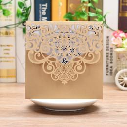 свадебные наборы для душа Скидка 5 PCS Laser Cut Свадебные приглашения, персонализированные пригласительные билеты с комплектом конвертов для помолвки Свадебный душ Годовщина свадьбы