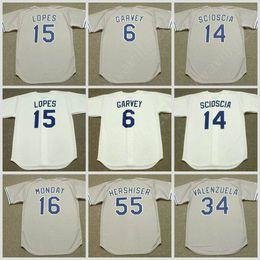 2019 fernando valenzuela jerseys LUNES béisbol camiseta Jersey 1981 Los Ángeles 6 STEVE GARVEY 14 MIKE SCIOSCIA 55 OREL HERSHISER 34 FERNANDO VALENZUELA 15 DAVEY LOPES 16 RICK Hombres rebajas fernando valenzuela jerseys