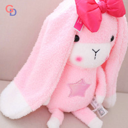 Biscoito rosa rosa on-line-Orelhas super longas coelho rosa arco animais de pelúcia brinquedo coelho roxo de pelúcia brinquedos do bebê menina dormindo appease bonecas presente de aniversário