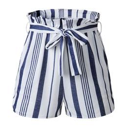 edeee209b Casual Solto Listrado Shorts Lace-up Shorts Mulheres Verão Casual Calças  Elásticas Cintura Alta