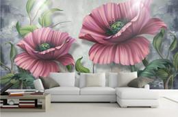 Grandes murais de parede florais on-line-Personalizado Mural Pintura grande parede 3D moderno StereoscopicThree-dimensional floral Nordic s Sala TV cenário pintado à mão Wallpaper