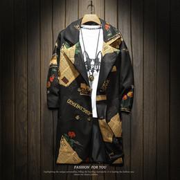 estilo de japão estilo japão Desconto Mens Trench Coat 2019 Nova Moda Impresso Floral Longo Casaco Outono Inverno Japão Estilo Blusão Jaquetas Trench Jacket Homens