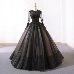 2019 simples robes de mariage de plage de tulle noir manches longues pure cou robes de mariage robes de mariée longueur plancher personnalisé ? partir de fabricateur