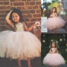 2019 breve abito da sposa fiorito gonna Principessa Tutu lettiere Ragazze Abiti da spettacolo Breve gonna gonfio Carino bambino Sparkly Brithday Party Flower Girl Dress Per Wedding New 2019 breve abito da sposa fiorito gonna economici