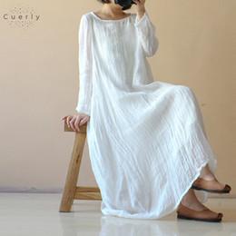 biancheria bianca abiti manica lunga Sconti Signore allentati della spiaggia di estate abiti bianchi Abiti Abito Maglia a manica lunga Maxi Long veste di lino Femme Plus Size