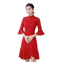 Le donne cinesi vestono stili online-Shanghai Story 2019 manica fiammata Qipao abito cinese abito stile cinese abito orientale cinese cheongsam di pizzo delle donne