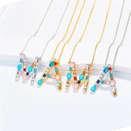 Iniziali di diamanti online-26 A Z inglese collana iniziale di cristallo inglese lettera collana in argento oro pietra diamante lettera pendenti gioielli di moda per le donne regalo