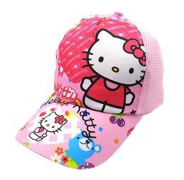 fotos abiertas chicas Rebajas 2019 Nueva caricatura Hello Kitty sombrero Niños de algodón de la gorra de béisbol de los niños Hip Hop Cosplay Hat H013