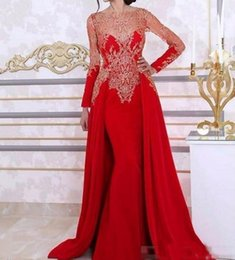 2019 vestido de noche rojo de encaje peplum Vestidos de noche de sirena árabe de manga larga con falda desmontable de encaje rebordear Kaftan vestido formal del partido de las mujeres rebajas vestido de noche rojo de encaje peplum