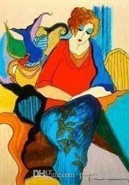 2019 textura da lona do óleo Itzchak Tarkay Nouvelles Figuration Home Obras de Arte Moderna Senhora Retrato Pintura a Óleo sobre Tela Canvas Côncava e Textura Convexa IT100 textura da lona do óleo barato