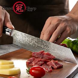 Cuchillo de cocinero de hoja de damasco online-GRANDSHARP 8.2 Pulgadas VG10 Acero Damasco Cuchillos de Cocina Japoneses Mango G10 Maquinilla de Afeitar Cuchillo de Chef de Hoja de Damasco Afilado Japonés con Caja de Regalo
