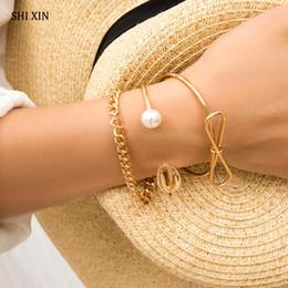 pulsera de oro coreano Rebajas SHIXIN 3 Unids Charm Bracelet Bangles Set 2019 Moda Coreana y Pulsera de Concha de Mar para Mujer Joyería de Cadena de Mano de Oro / Plata
