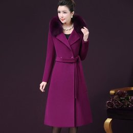 2019 ремень кашемир пальто мех Women Winter Cashmere Coat with Real  Fur Collar Wool Jacket with Belt Women Fashion Cashmere Jacket Woolen Coat Female дешево ремень кашемир пальто мех