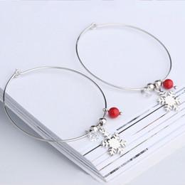 Yeni Moda 925 ayar gümüş Kar Tanesi kırmızı taş top büyük çember küpe Kadınlar Için trendy Takı hediyeler drop shipping nereden
