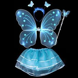 Набор крыльев бабочки онлайн-4Pcs Kids girls Fairy Princess Costume Sets colorful stage wear Butterfly Wings Wand Headband Tutu Skirt