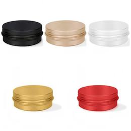 Caja de te rojo online-30 ml Tarro de aluminio Jarra de almacenamiento de té Maquillaje Multiuso Caja pequeña Redonda Mujeres y Hombres Oro Rojo 1 ml C1
