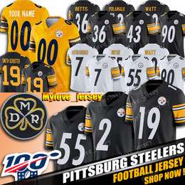 2 Mason Rudolph Jersey 55 Devin Bush Jersey Pittsburgh Steeler shirt 19 JuJu Smith-Schuster maglie 90 T.J. Spedizione Watt 30 James Conner da notre dame fighting irish jersey fornitori