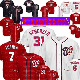 7ed2b86f3 anthony rizzo jerseys Coupons - Washington Custom Nationals Jersey 7 Trea  Turner 31 Max Scherzer 22