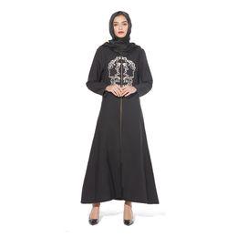 Мусульманский Абая джилбаба Jubah Рамазан Араб Дубай Кафтан Исламская молитва Одежда Вышивание Maxi платье на молнии Длинные робы платья Кимоно от