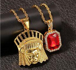 Pendentifs rubis de mode indienne en Ligne-Nouveau chef indien Bling cristal strass pendentif avec rouge rubis pendentif collier ensemble hommes mode hip hop bijoux