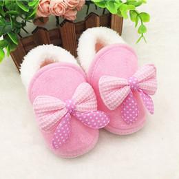 botas de inverno rosa bebê menina Desconto Inverno Quente Do Bebê Recém-nascido Meninas Sapatos Arco Rosa Vermelho Pele De Neve Princesa Macia Crib Sapatos Prewalker Botas 0-18 M