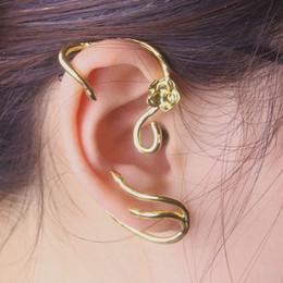 Märchen Ohrringe Ohr Manschette Belle Golden Rose Stud Geschenk für Mädchen Frauen Modeschmuck Charm Zubehör von Fabrikanten