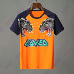 marca de algodón Rebajas Diseñador de ropa de marca hombres camiseta naranja letra animal estampado de lobo camiseta amada patchwork manga camiseta Casual mujer camiseta de algodón camiseta Top