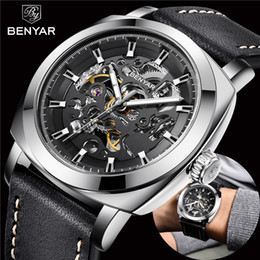 2019 водостойкие скелетные часы BENYAR Men's Watches Top  Business Fashion Mechanical Waterproof Skeleton Wrist Watch Leather Clock's Man Relogio Masculino дешево водостойкие скелетные часы