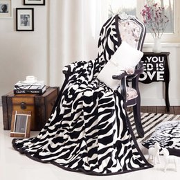 Cobertor de rainha grosso on-line-Zebra Stripes Moda Thick Blanket 200x230cm Viagens / Hotel / Sofá Lança ou decorativa Mantas Queen Size macia Bedsheet