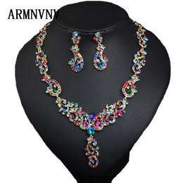 vente en gros collier en cristal boucles d'oreilles Dubaï ensembles de bijoux indien luxe Costume de mariage mariée bijoux cadeaux de mariée ? partir de fabricateur