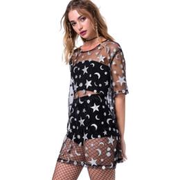 camisas de blusa preta para mulheres Desconto 2019 Vestidos de Estrela Das Mulheres e Lua Emenda Completa Ver Através Da Camisa Sexy Preto Malha Tee Top Blouse Cover Up