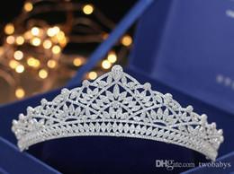 Tiara de diamante princesa online-Clásico grano exquisita de circón diamante del micro-carátula de accesorios vestido de novia tiara de novia estilo princesa de la corona