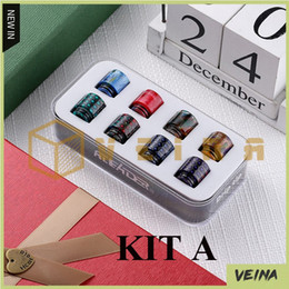 2019 vaporizador protank rda Autêntica Original Aleader Resina Epóxi Drip Tip Kit A com 8 pcs 810 Conjunto B 10 pcs 510 Kit C 8 pcs 510 Pele De Cobra Grelha Arco-íris Bocal