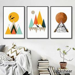pinturas de arte abstrata para crianças Desconto Abstrato geométrico Pinturas Tela Posters modernos e impressões Nordic Wall Art Pictures para Crianças Salas de Estar Home Decor No Frame