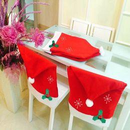 Шляпы 65см онлайн-50*65cm Santa Claus Red Hat Sets Non-woven Snowflake Chair Covers Fashion Gift Christmas Supplies