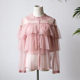 2019 Verano de Las Mujeres Dulce de Malla Rosa Camisas de Encaje Niñas de Dos Piezas Ruffle Blusa Transparente Ruffles Botón de Manga Larga Tops desde fabricantes