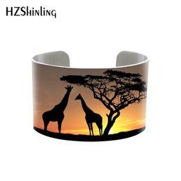 Giraffen armband online-Trendy Giraffe Bilder Armreif Silhouette von Wildtieren Manschette Armband Baum Giraffe Einstellbare Metall gedruckt Foto Manschetten