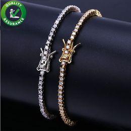 Glacé Out Chaînes Diamant Tennis Bracelet Hommes Hip Hop Bijoux 18k Plaqué Or Bracelets Micro Pavé CZ Étincelant Bracelet De Luxe Bracelet Wrap ? partir de fabricateur