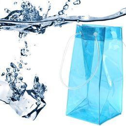Contenitore di contenitori di plastica online-Plastic Bag Ice singola bottiglia sigillata Appartamenti sacchetti trasparenti bevande Bag contenitore di alimento Bere bagagli Accessori Cucina MMA1645-6