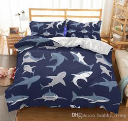 2019 edredom floral branco preto US tamanho au 3 pcs conjunto de cama de luxo edredon tubarão impresso conjunto de tampa de cama rei tamanhos de volta à escola capa de edredão conjunto de cama suprimentos