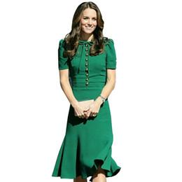 Princesa Kate Middleton Vestido 2019 Vestido de Mulher Primavera de Manga Curta O-pescoço Sereia Vestidos Elegantes Roupas de Desgaste do Trabalho Sad185as J190430 de