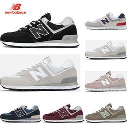 Vinhos vintage on-line-new balance Hotsale Designer 574 tênis para homens triplos preto branco rosa Vinho mulheres esporte sneakers trainer Respirável moda vintage tamanho 36-44