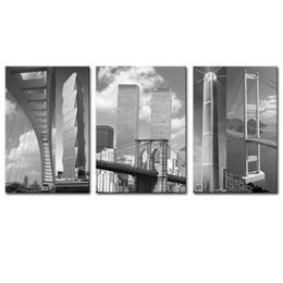 Paesaggistica unita online-Unframed 3 pezzi di arte della parete della tela dipinge la città in bianco e nero degli Stati Uniti per la pittura del salone della decorazione della casa del paesaggio