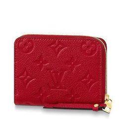 Moneda en relieve online-M63696 ZIPPY COIN PURSE Estampado rosa rojo Caviar real Bolso con solapa de cadena de piel de cordero LARGA CADENA DE LOS INGRESOS CLAVES DE LAS TARJETAS CLASE EMBRAGUE