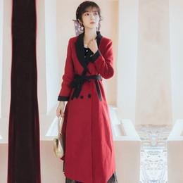 High Quality Serie # Frauen Turn Down Kragen Rot beiläufiger Wollmantel Winter lange Jacke Zweireiher Mantel 1551
