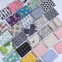 Servilletas de tela online-Algodón y lino paño de cocina impresión de la hoja servilleta de mesa de absorción de agua Cena de tela de muchos estilos 4 5SD C