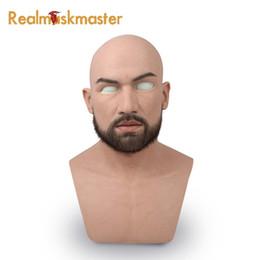 Masque d'homme au latex en Ligne-Latex masculin réaliste adulte silicone masque complet pour homme cosplay masque de parti fétiche peau réelle